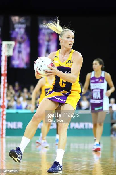 Laura Langman of the Lightning looks to pass during the round one of the Super Netball match between the Firebirds and Lightning at Brisbane...