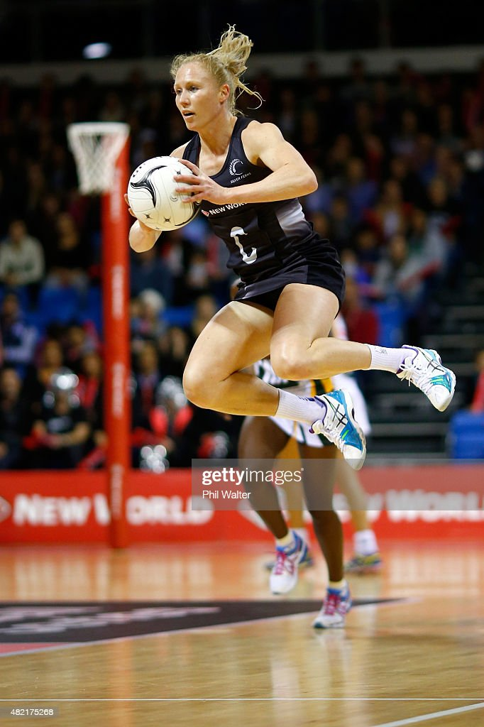 Laura Langman of the Silver Ferns takes a pass during the International Test Match between the New Zealand Silver Ferns and the South Africa Proteas...
