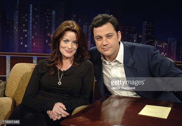 Laura Leighton and Host Jimmy Kimmel on the 'Jimmy Kimmel Live' show on ABC Photo by Jamie Trueblood/WireImagecom/ABC