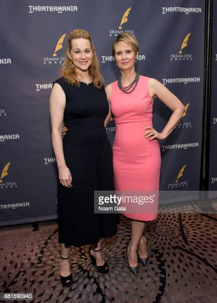Laura Linney and Cynthia Nixon attend the 2017 Drama Desk Nominees Reception at Marriott Marquis Times Square on May 10 2017 in New York City