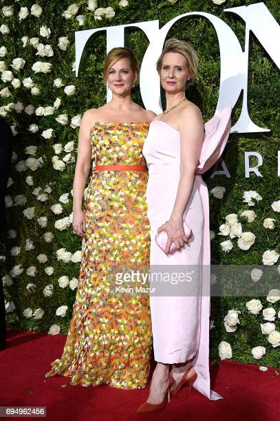 Laura Linney and Cynthia Nixon attend the 2017 Tony Awards at Radio City Music Hall on June 11 2017 in New York City