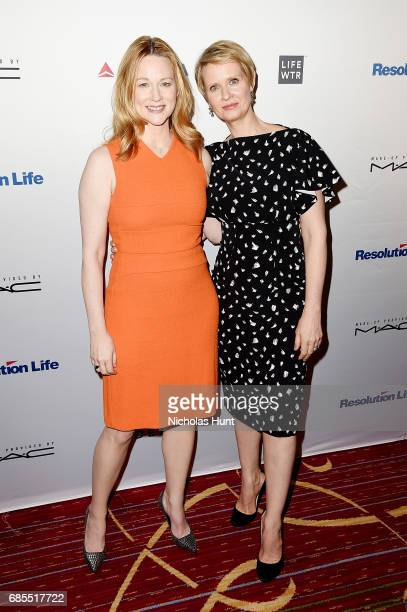 Laura Linney and Cynthia Nixon attend the 83rd Annual Drama League Awards Ceremony and Luncheonat Marriott Marquis Times Square on May 19 2017 in New...