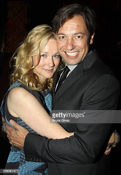 Laura Linney and husband Marc Schauer pose at the Opening Night after party for 'Time Stands Still' at Pio Pio on October 7 2010 in New York City