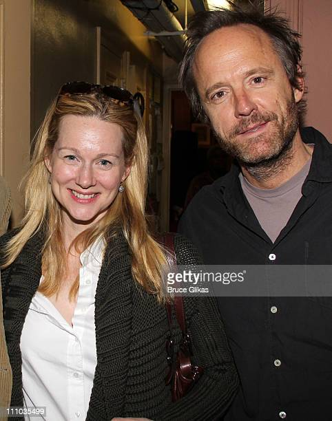 Laura Linney and John Benjamin Hickey pose backstage at the hit play 'Driving Miss Daisy' at The Golden Theater on March 28 2011 in New York City