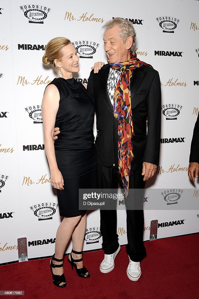 Laura Linney (L) and Sir Ian McKellen attend the 'Mr. Holmes' New York Premiere at the Museum of Modern Art on July 13, 2015 in New York City.