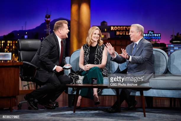 Laura Linney and Vice President Al Gore chat with James Corden during 'The Late Late Show with James Corden' Wednesday July 26 2017 On The CBS...