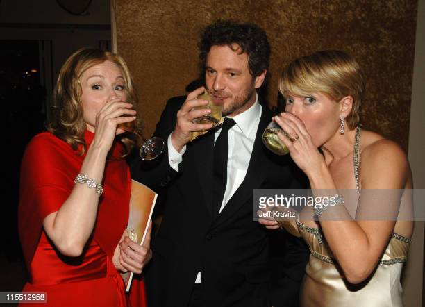 Laura Linney Colin Firth and Emma Thompson during HBO 2006 Golden Globes After Party Inside at Aqua Star Pool at the Beverly Hilton Hotel in Beverly...