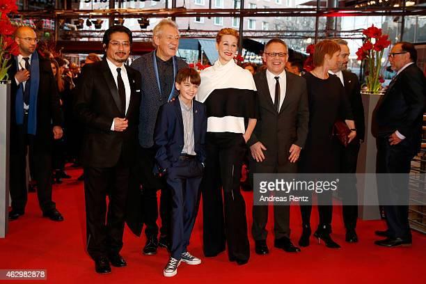 Laura Linney Ian McKellen Milo Parker Hiroyuki Sanada and Bill Condon attend the 'Mr Holmes' premiere during the 65th Berlinale International Film...