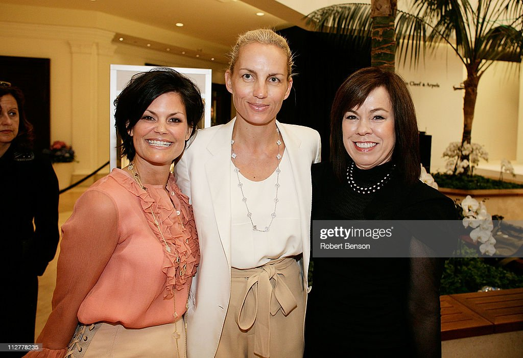 Laura Livingston (left to right), Karin Gregersen and Debra Gunndowning pose before a Chloe And Van Cleef & Arpels Fashion Show at South Coast Plaza on April 20, 2011 in Costa Mesa, California.