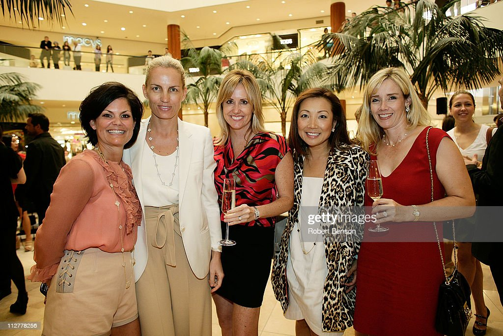 Laura Livingston (left to right), Karin Gregersen, Nicole McMackin, Susan Efthandy and Cindy McMackin stand together before a Chloe And Van Cleef & Arpels Fashion Show at South Coast Plaza on April 20, 2011 in Costa Mesa, California.