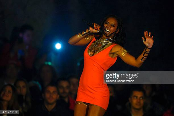 Laura Lopez performs during the 'Deutschland sucht den Superstar' show from Balver Hoehle on April 29 2015 in Balve Germany