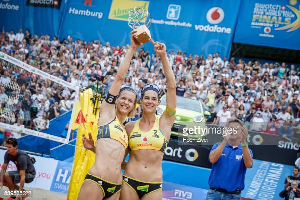 Laura Ludwig and Kira Walkenhorst of Germany celebrate after winning the gold medal match during Day 4 of the Swatch Beach Volleyball FIVB World Tour...