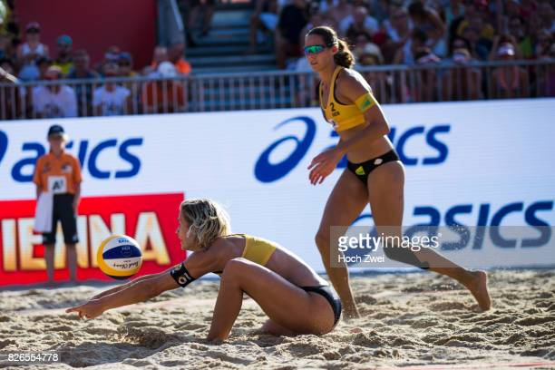 Laura Ludwig and Kira Walkenhorst of Germany in action during Day 8 of the FIVB Beach Volleyball World Championships 2017 on August 4 2017 in Vienna...