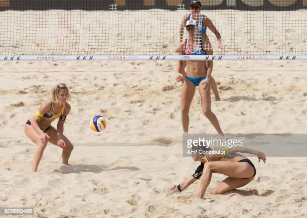 Laura Ludwig and Kira Walkenhorst of Germany play against the US team during the final match Germany against the United States at the Beach...