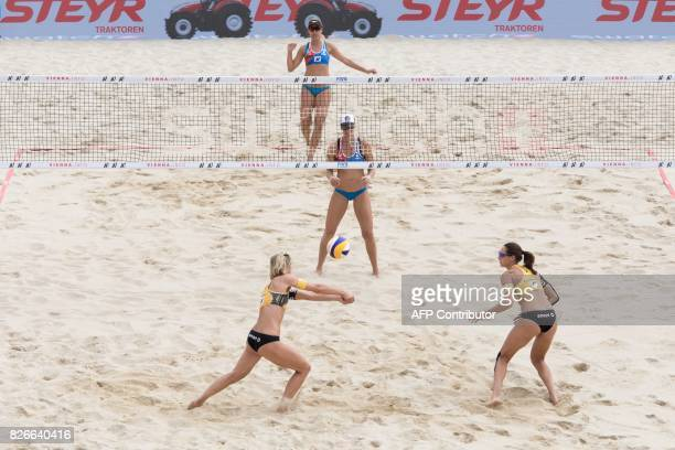 Laura Ludwig and Kira Walkenhorst of Germany play during the final match against United States at the Beach Volleyball World Championship in Vienna...