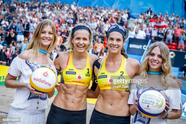 Laura Ludwig and Kira Walkenhorst of Germany seen during Day 3 of the Swatch Beach Volleyball FIVB World Tour Finals Hamburg 2017 on August 25 2017...