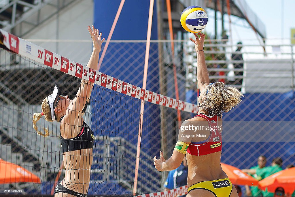 Laura Ludwig (R) of Germany in action during main draw match against Norway during the FIVB Fortaleza Open on Futuro Beach on April 29, 2016 in Fortaleza, Brazil.
