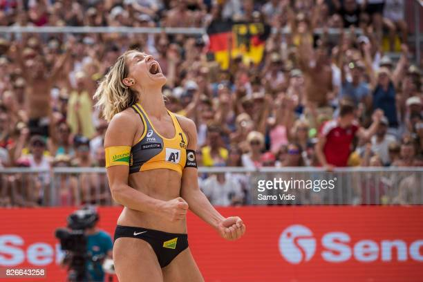 Laura Ludwig of Germany reacts during the gold medal match against Lauren Fendrick and April Ross of the United States at FIVB Beach Volleyball World...