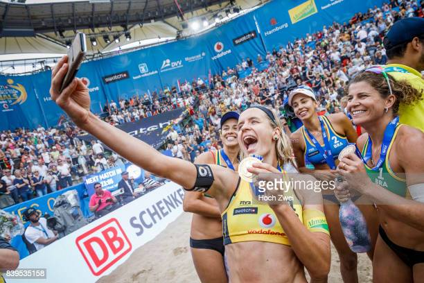 Laura Ludwig of Germany takes a selfie with the gold medal during Day 4 of the Swatch Beach Volleyball FIVB World Tour Finals Hamburg 2017 on August...