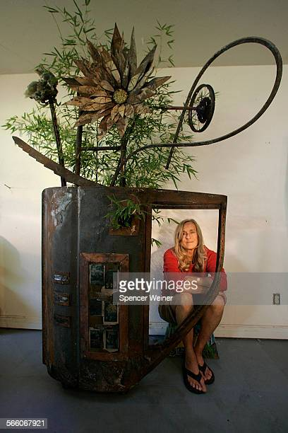 Laura Lynch a Santa Barbara sculptor created a 10foot tall piece out of rubble from Santa Barbara Botanic Garden which was heavily damaged in the...