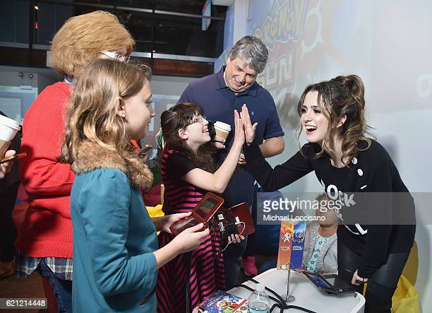 Laura Marano actress and recording artist with guests host the Nintendo 3ds Girls Love Gaming event at Lightbox on November 5 2016 in New York City