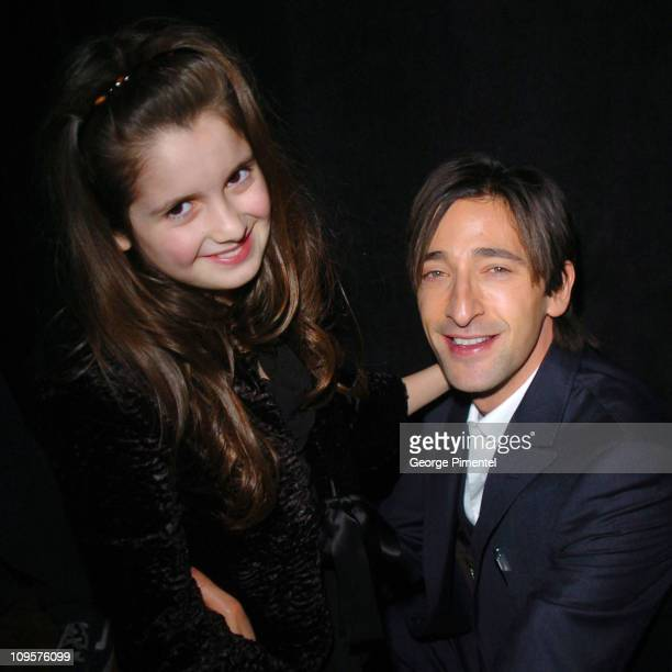 Laura Marano and Adrien Brody during 2005 Sundance Film Festival 'The Jacket' Premiere After Party at Yoga Studio in Park City Utah United States