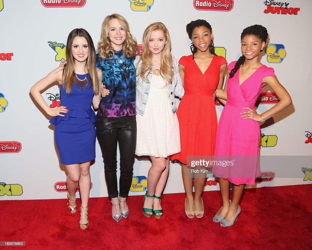 <a gi-track='captionPersonalityLinkClicked' href=/galleries/search?phrase=Laura+Marano&family=editorial&specificpeople=2546967 ng-click='$event.stopPropagation()'>Laura Marano</a>, <a gi-track='captionPersonalityLinkClicked' href=/galleries/search?phrase=Bridgit+Mendler&family=editorial&specificpeople=5834604 ng-click='$event.stopPropagation()'>Bridgit Mendler</a>, Dove Cameron, <a gi-track='captionPersonalityLinkClicked' href=/galleries/search?phrase=Chloe+Bailey+-+Musician&family=editorial&specificpeople=15633805 ng-click='$event.stopPropagation()'>Chloe Bailey</a> and <a gi-track='captionPersonalityLinkClicked' href=/galleries/search?phrase=Halle+Bailey+-+Musician&family=editorial&specificpeople=4964042 ng-click='$event.stopPropagation()'>Halle Bailey</a> attend the Disney Channel Kids Upfront 2013 at Hudson Theatre on March 12, 2013 in New York City.
