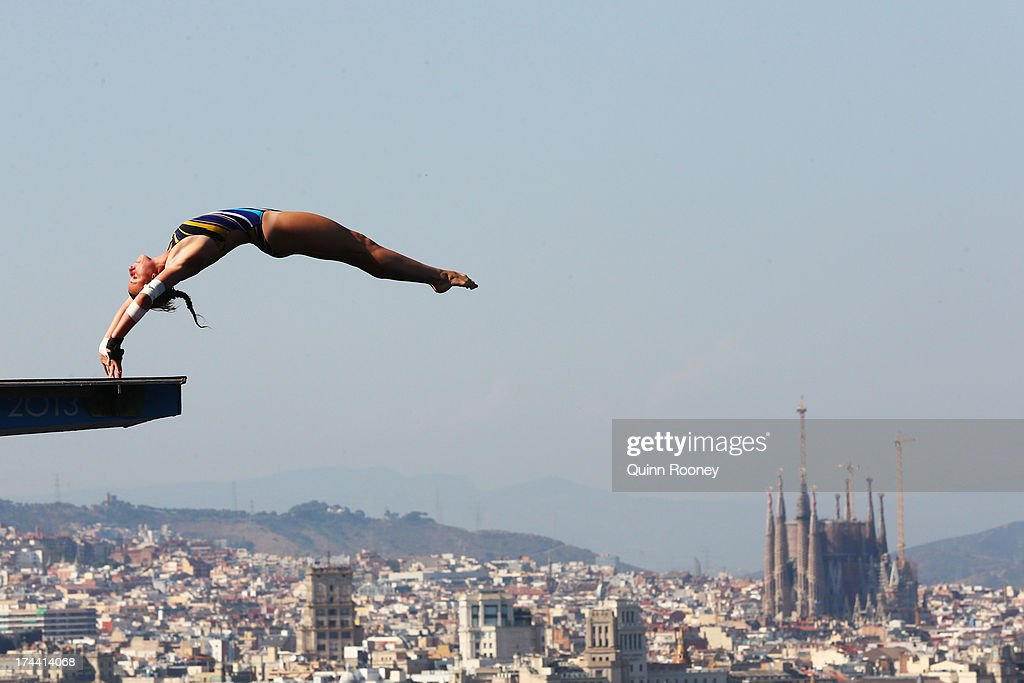Laura Marino of France competes in the Women's 10m Platform Diving final on day six of the 15th FINA World Championships at Piscina Municipal de Montjuic on July 25, 2013 in Barcelona, Spain.
