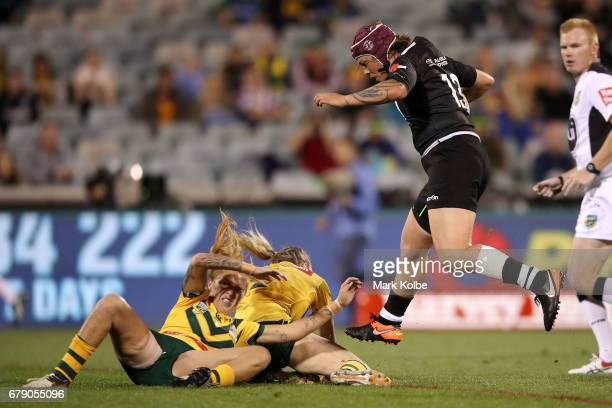 Laura Mariu sf evades the the Jillaroos defence during the women's ANZAC Test match between the Australian Jillaroos and the New Zealand Kiwi Ferns...