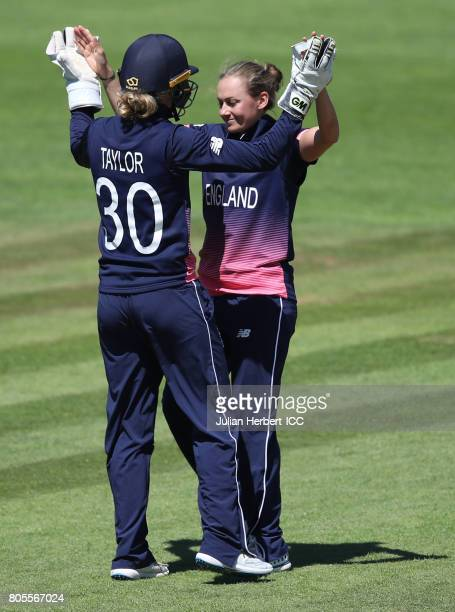 Laura Marsh and Sarah Taylor of England celebrate the wicket of Harshitha Madhavi of Sri Lanka during The Women's World Cup 2017 match between...