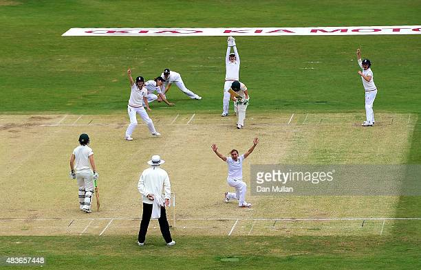 Laura Marsh of England appeals successfully for the wicket of Megan Schutt of Australia during day one of the Kia Women's Test of the Women's Ashes...