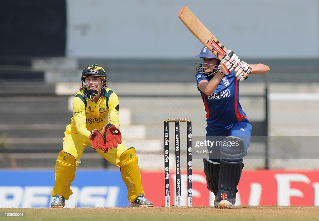 Laura Marsh of England bats during the super six match between England and Australia held at the CCI (Cricket Club of India) on February 8, 2013 in Mumbai, India.