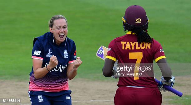 Laura Marsh of England celebrates after dismissing Stafanie Taylor of West Indies during the ICC Women's World Cup 2017 match between England and the...