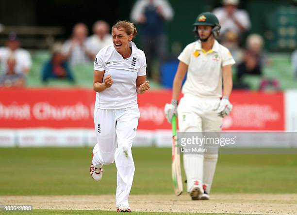 Laura Marsh of England celebrates taking the wicket of Alyssa Healy of Australia during day one of the Kia Women's Test of the Women's Ashes Series...