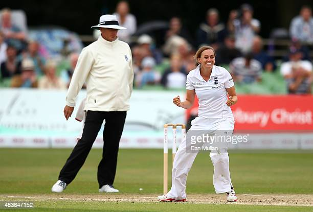 Laura Marsh of England celebrates taking the wicket of Megan Schutt of Australia during day one of the Kia Women's Test of the Women's Ashes Series...