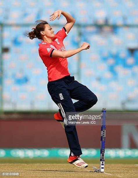 Laura Marsh of England in action during the Women's ICC World Twenty20 India 2016 Semi Final match between England and Australia at the Feroz Shah...