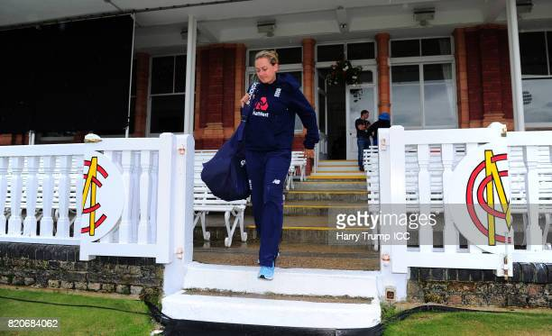 Laura Marsh of England makes her way to training during the England v India Final ICC Women's World Cup 2017 Previews at Lord's Cricket Ground on...