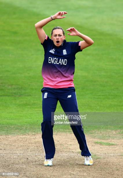 Laura Marsh of England reacts during the ICC Women's World Cup 2017 match between England and West Indies at The County Ground on July 15 2017 in...