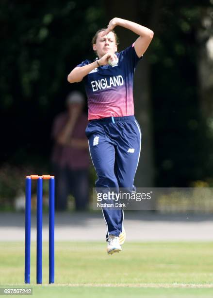 Laura Marsh of England Women's runs in to bowl during the ICC women's world cup warm up match between England Women's and Sri Lanka on June 19 2017...