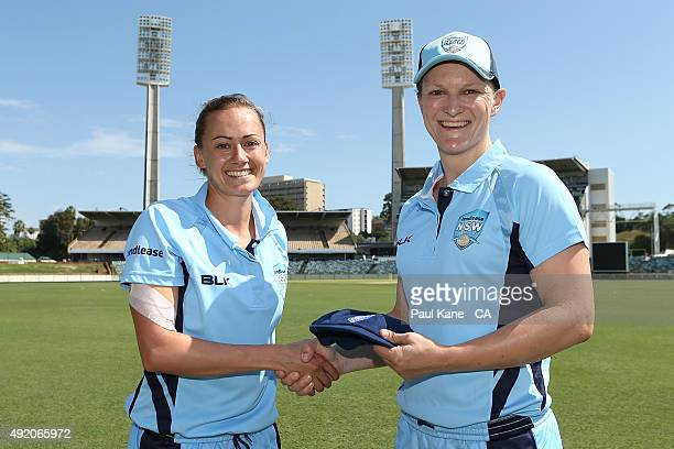 Laura Marsh of New South Wales poses with Sarah Aley after being presented with her cap during the round one WNCL match between New South Wales and...