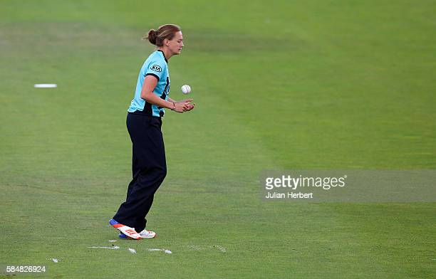 Laura Marsh of the Surrey Stars prepares to bowl during the Kia Super League women's cricket match between the Southern Vipers and the Surrey Stars...