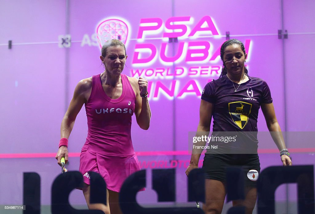 Laura Massaro of England celebrates a point against Raneem El Welily of Egypt during the women's final match of the PSA Dubai World Series Finals 2016 at Burj Park on May 28, 2016 in Dubai, United Arab Emirates.