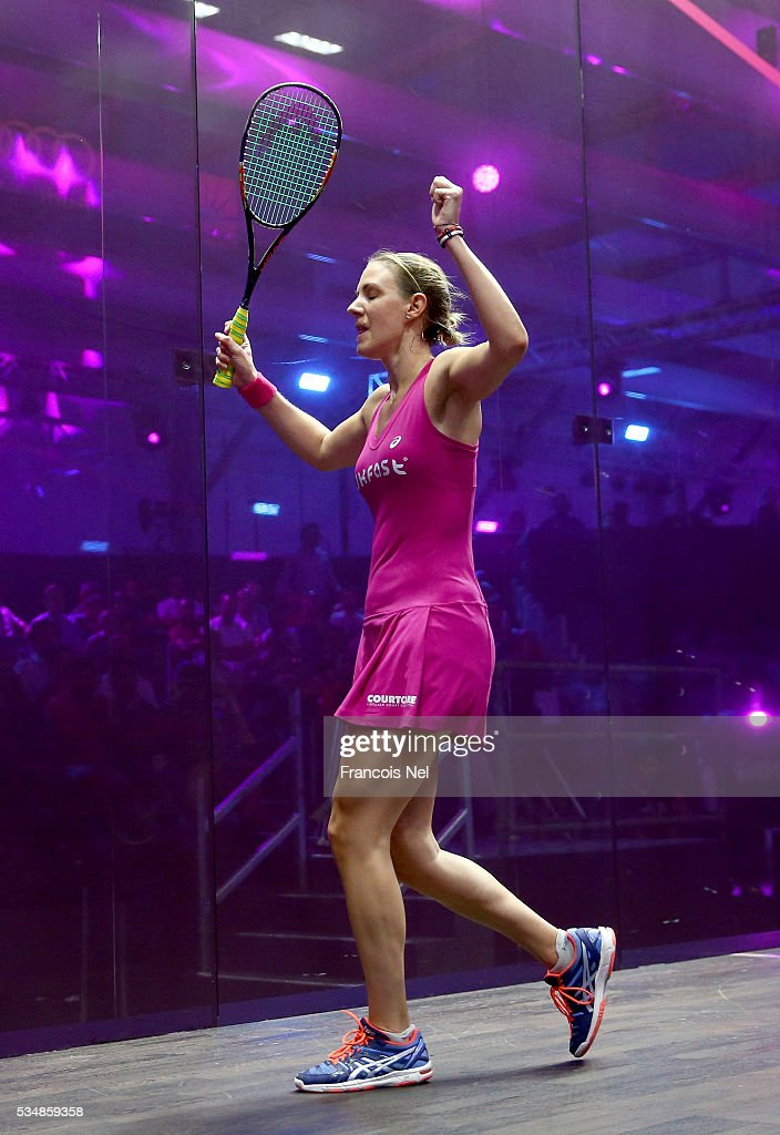 Laura Massaro of England celebrates after defeating Raneem El Welily of Egypt during the women's final match of the PSA Dubai World Series Finals 2016 at Burj Park on May 28, 2016 in Dubai, United Arab Emirates.
