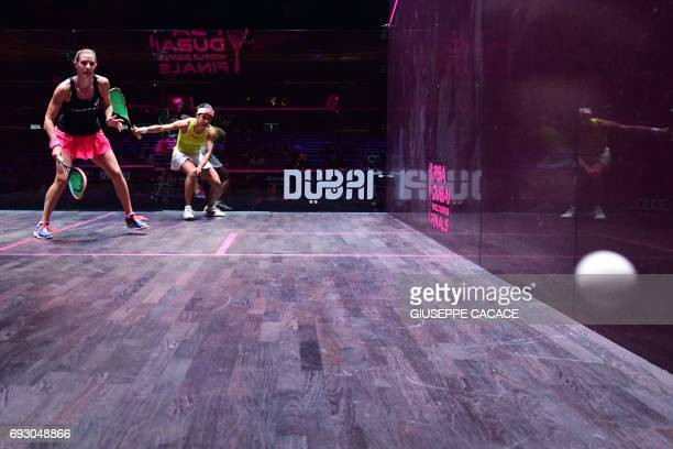 Laura Massaro of England competes against Nicol David of Malaysia during the first day of the PSA Dubai World Series Finals 2017 at Dubai Opera on...