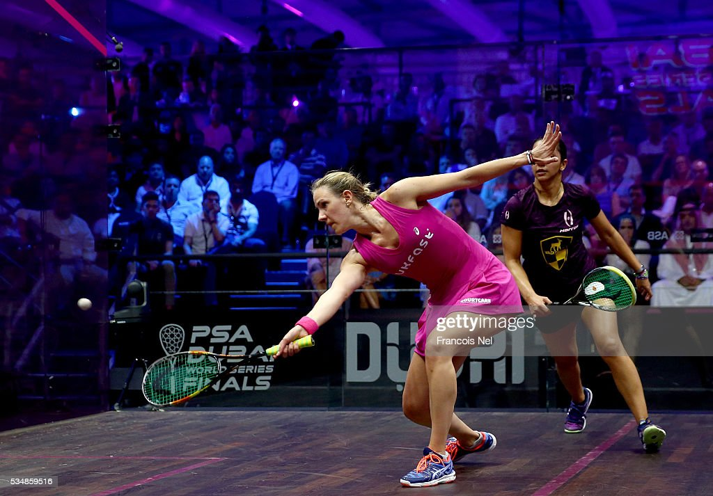 Laura Massaro of England competes against Raneem El Welily of Egypt during the women's final match of the PSA Dubai World Series Finals 2016 at Burj Park on May 28, 2016 in Dubai, United Arab Emirates.