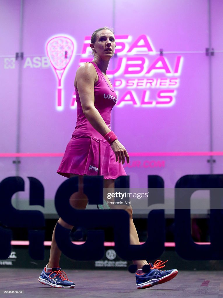 Laura Massaro of England in action against Raneem El Welily of Egypt during the women's final match of the PSA Dubai World Series Finals 2016 at Burj Park on May 28, 2016 in Dubai, United Arab Emirates.