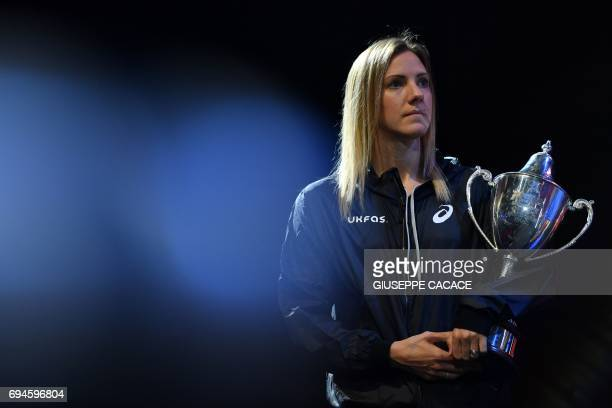 Laura Massaro of England poses with the trophy after winning the finals of the PSA Dubai World Series Finals 2017 at Dubai Opera on June 10 2017 in...