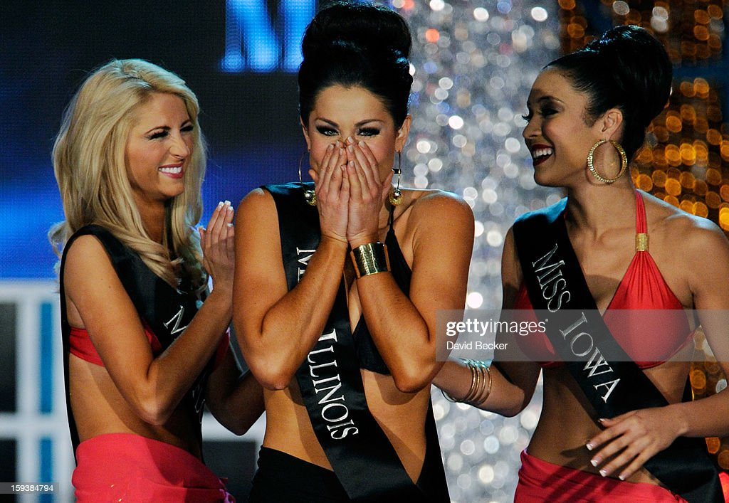 Laura McKeeman (L), Miss Florida, and Mariah Cary (R), Miss Iowa, congradulate Megan Ervin, Miss Illinois, as she reacts during the 2013 Miss America Pageant at PH Live at Planet Hollywood Resort & Casino on January 12, 2013 in Las Vegas, Nevada.