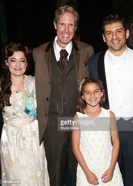Laura Michelle Kelly as 'Sylvia Llewelyn Davies' Paul Slade Smith as 'Charles Frohman' Suri Cruise and Tony Yazbeck as 'JM Barrie' pose backstage at...