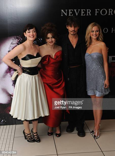 Laura Michelle Kelly Helena Bonham Carter Johnny Depp and Jayne Wisener arrive for the premiere of Sweeney Todd The Demon Barber of Fleet Street at...